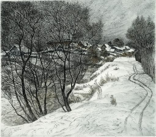 Зима в Волковском 29x23см